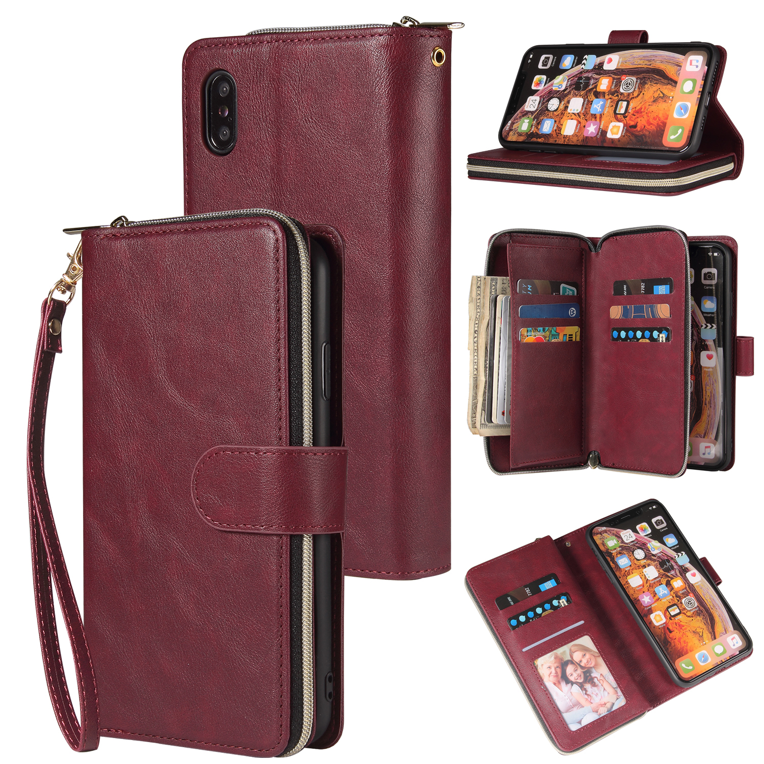 For iphone X/XS/XS MAX/11/11Pro Pu Leather  Mobile Phone Cover Zipper Card Bag + Wrist Strap Red wine