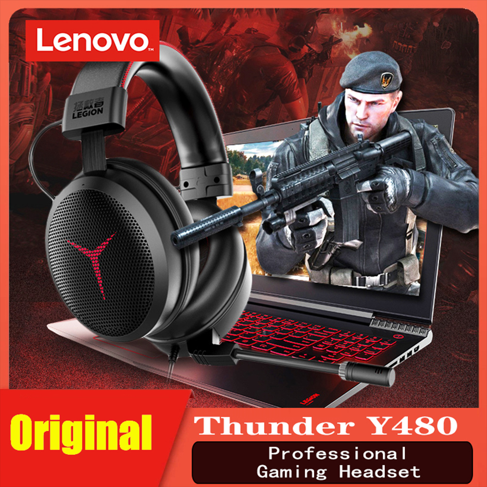 Gaming  Headset 7.1 E-sports Gaming Headset Wired Mic Detachable For Lenovo Savior Y480 Black