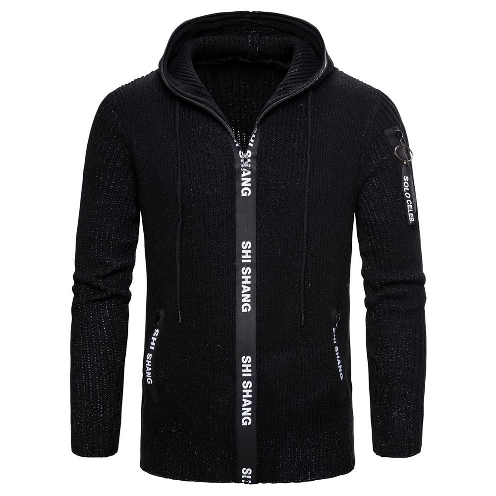 Men Autumn Slim Knit Cardigan Zip Up Hooded Sweater Jacket Coat Tops black_XL