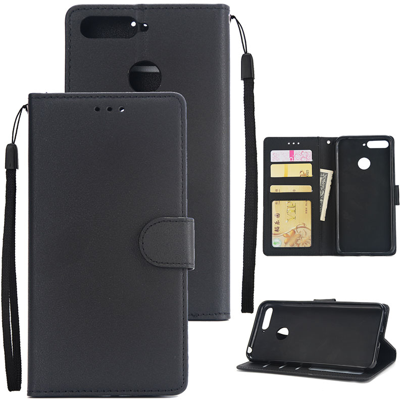 PU Leather Smart Phone Case Cover with Buckle & 3 Card Position for Honor 7A/Y6 2018 black