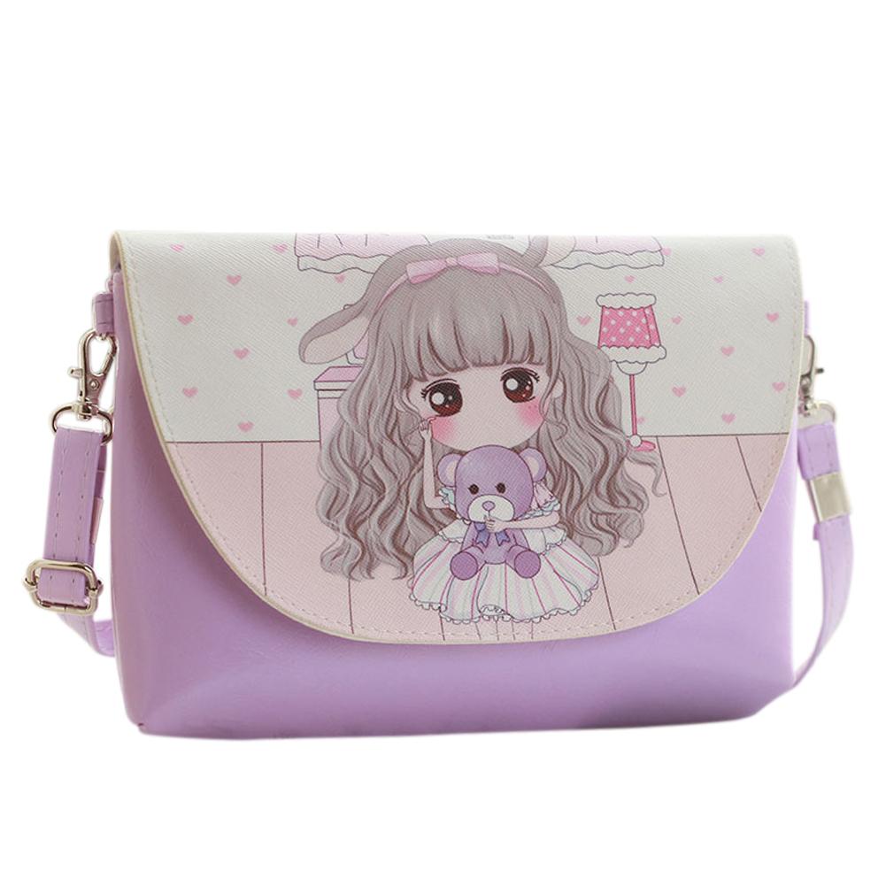 [Indonesia Direct] Children Girl Shoulder Bags Cartoon Printing Mini PU Leather Crossbody Princess Messenger Bag  No 1