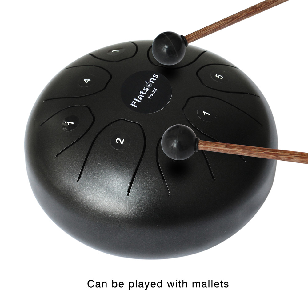 5.5 in. Steel Tongue Drum Steel Drums Flatsons Handpan Standard C Key 8 Notes with Drum Mallets Carry Bag black