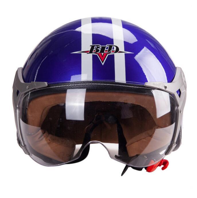 3/4 Helmet Motorcycle Scooter Helmet 3/4 Open Face Halmet Motocross Vintage Helmet blue_One size 56-60cm