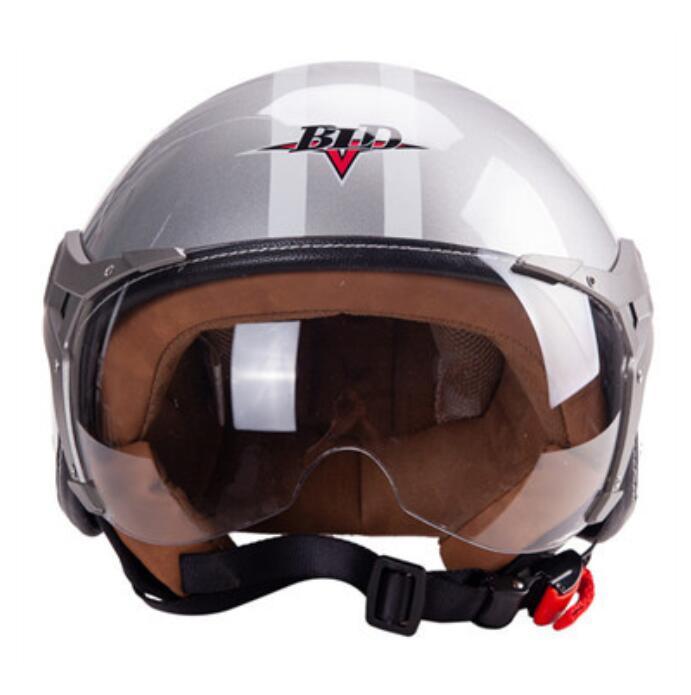 3/4 Helmet Motorcycle Scooter Helmet 3/4 Open Face Halmet Motocross Vintage Helmet Silver_One size 56-60cm