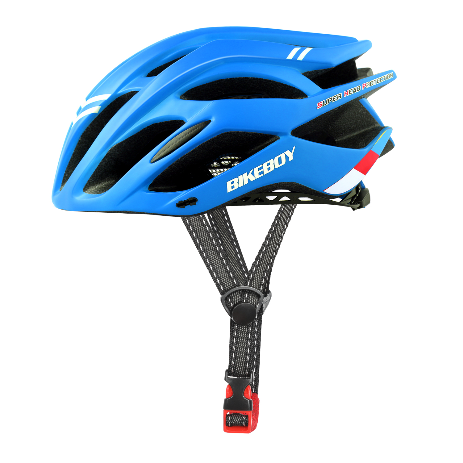 [Indonesia Direct] Men Women Piece Molding Cycling Helmet for Head Protection Bikes Equipment  blue_One size