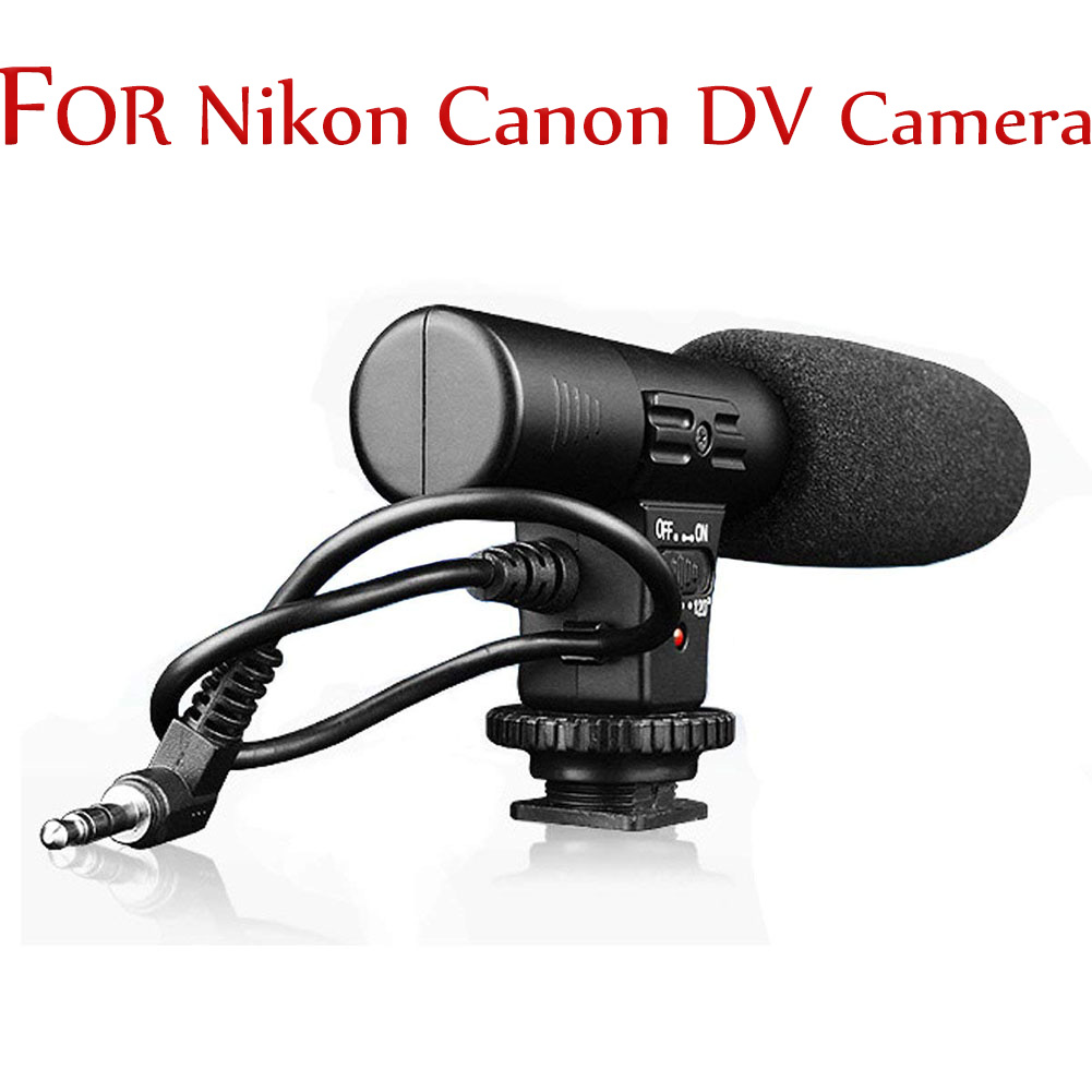 [Indonesia Direct] Camera Microphone 3.5mm Digital Video Recording Microphone for D-SLR Camera Nikon/Canon Camera/DV Camcorder  black