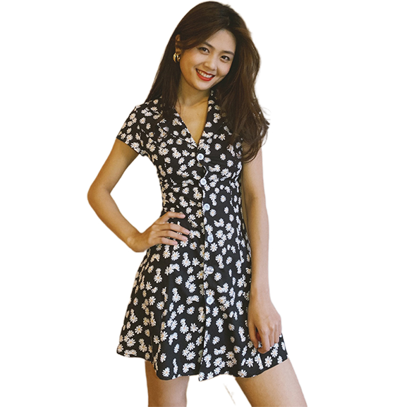 Summer Women Dress Daisy Slim High-waisted Tailored Collar Vintage Girl Floral Dress Small daisies_M