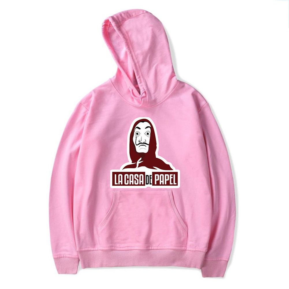 Long Sleeves Hoodie Loose Sweater Pullover with Unique Pattern Decor for Man and Woman Pink A_2XL