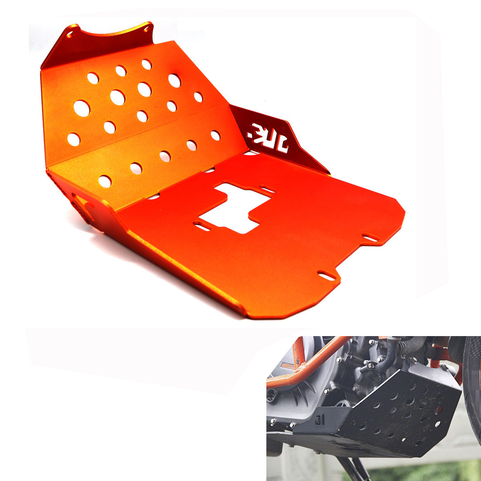 Aluminum Motorcycle Engine Guard Protector Skid Plate For KTM DUKE 390 13-16 Orange
