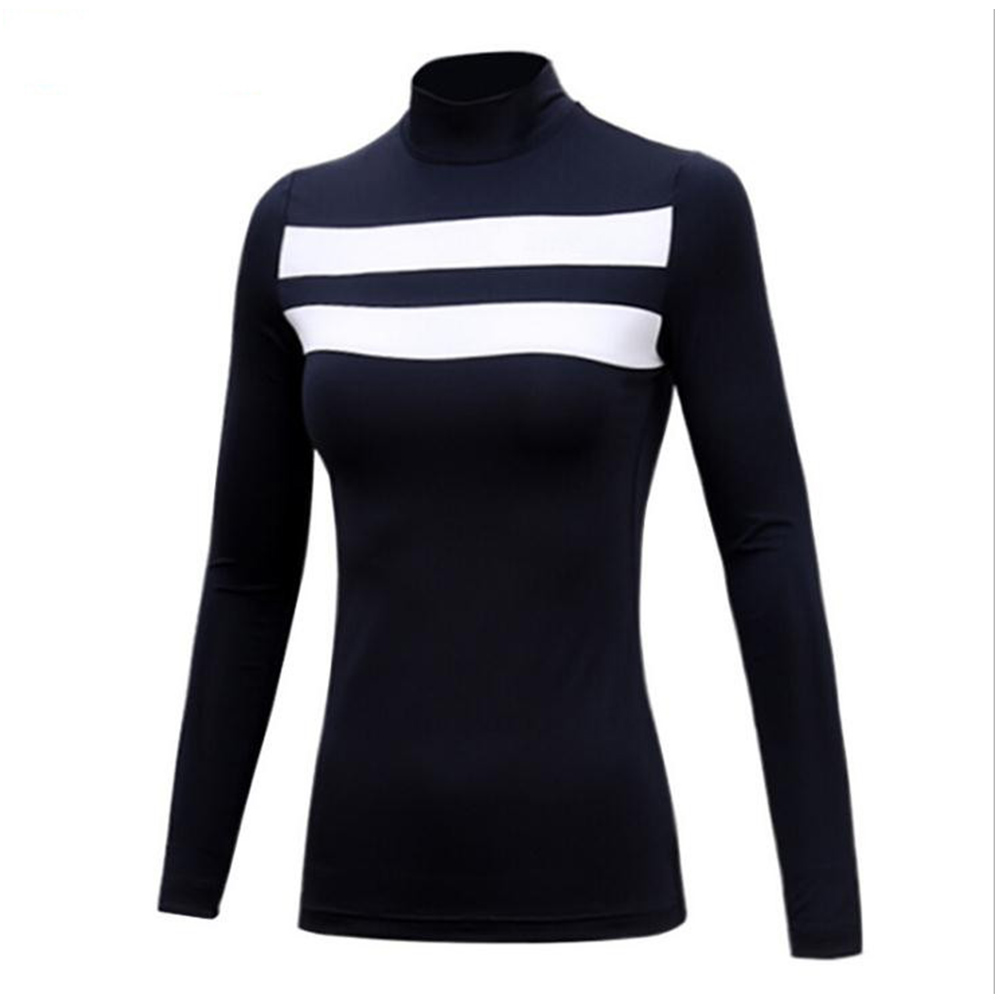 Golf Sun Block Base Shirt Milk Fiber Long Sleeve Autumn Winter Clothes YF144 navy blue [thick version]_XL