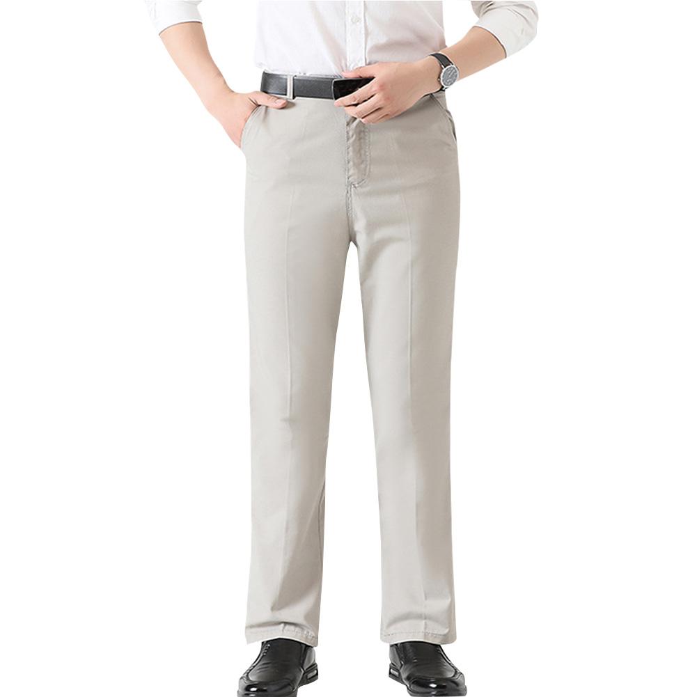 Men Soft Cotton Thin High Waist Straight Tube Casual Long Trousers
