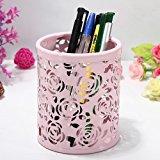 [EU Direct] Leegoal(TM) Hollow Rose Flower Metal Pen Pencil Cup Holder Desk Organizer (Pink)