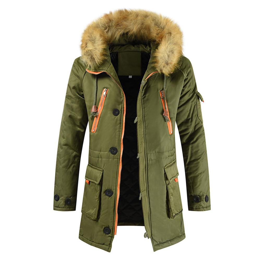 Men's  Coat  Long  Velvet  Fur Collar    Mid-length     Zipper    Padded  Jacket olive green_L