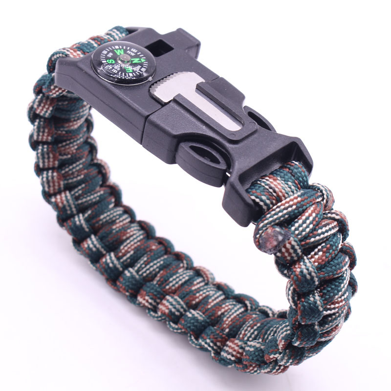 5-in-1 Multi-function Outdoor Seven-core Umbrella Rope Lanyard Camping Adventure Bracelet Forest jungle camouflage
