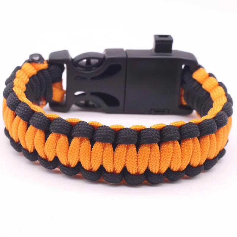 5-in-1 Multi-function Outdoor Seven-core Umbrella Rope Lanyard Camping Adventure Bracelet Orange + black