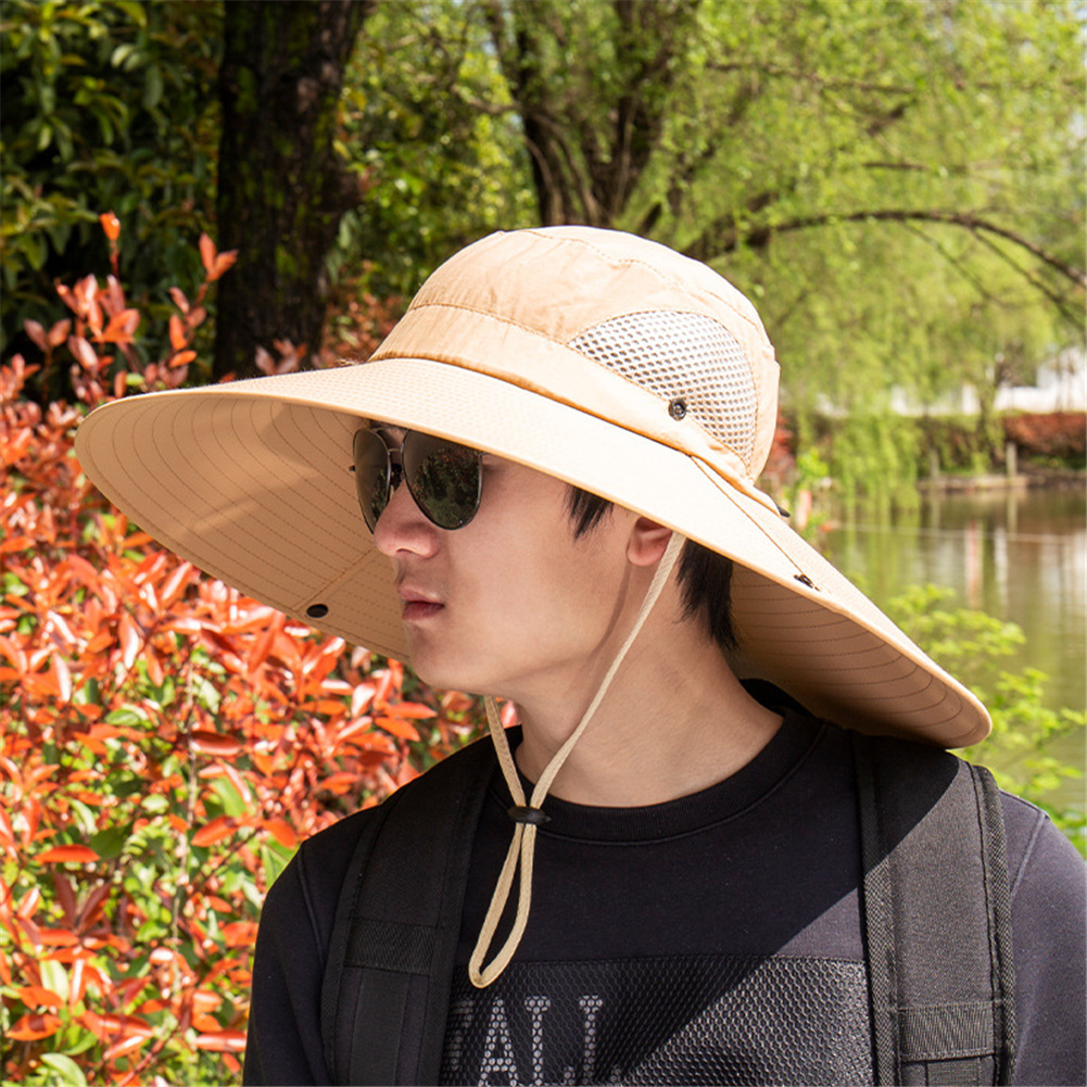 Quick-drying Fabric Fisherman Hat Protection Long Large Wide Brim Mesh Hiking Outdoor Beach Cap Pure color-Khaki_m-56-58cm