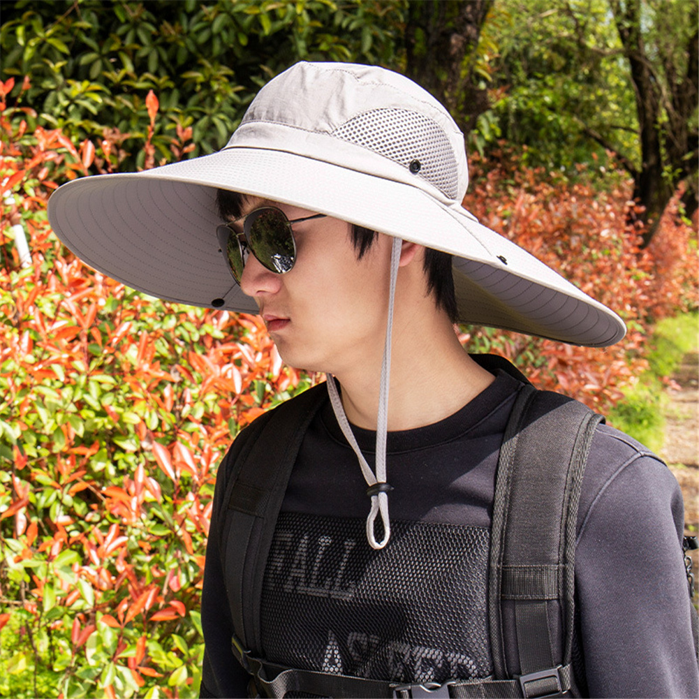 Quick-drying Fabric Fisherman Hat Protection Long Large Wide Brim Mesh Hiking Outdoor Beach Cap Pure color-gray_m-56-58cm