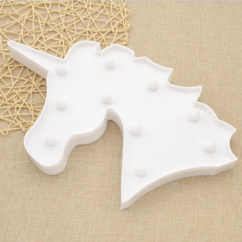[EU Direct] LED Unicorn Night Light Decorative 3D Marquee Sign Light for Bedroom Kids Room White_White beast head