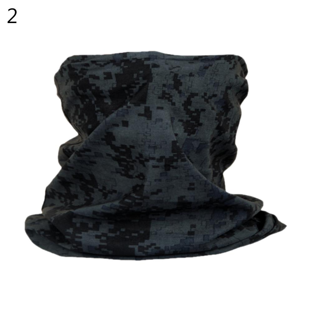 Camouflage Magic Scarf Bandana Neckerchief Outdoor Sunscreen Windproof Riding Headband Mask Turban Wristband Black digital_One size