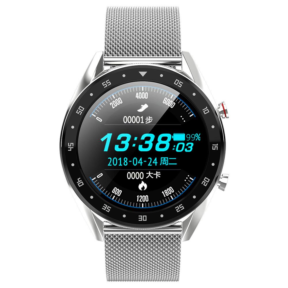 Smart Watch L7 Blood Pressure/Bluetooth/GPS/Sleep Monitor Men Women Watch Silver steel