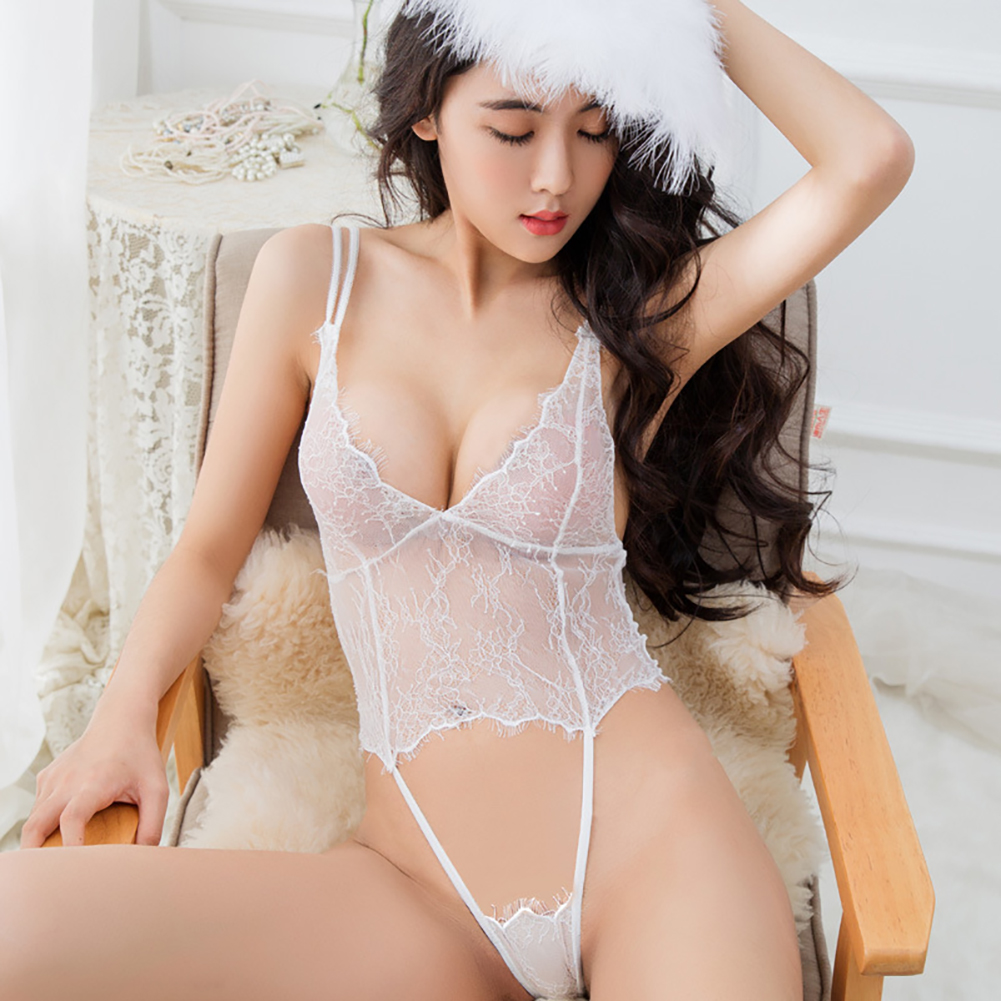 Lace Sexy One-piece Uniform Seduces Adult Women See-through Suspenders white_Free size
