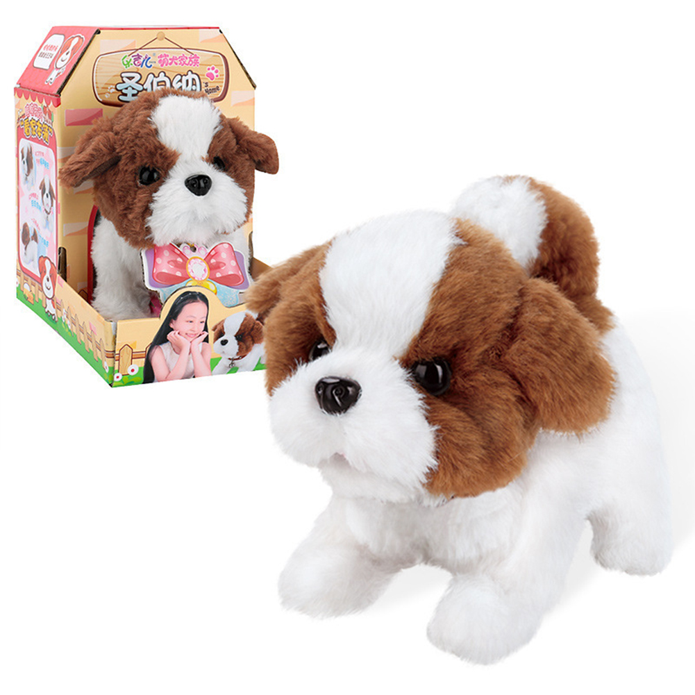 Dog Shape Electric  Plush  Toy Cute Simulation Puppy Plush  Toys Smart Robot  Dog Saint Bernard