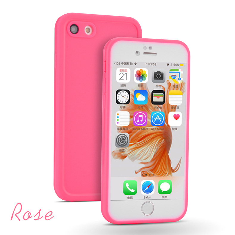TPU Ultra-thin Dustproof Anti-fall Waterproof Cellphone Protective Cover Case Support Fingerprint Identification for iPhone 7 Plus Rose red