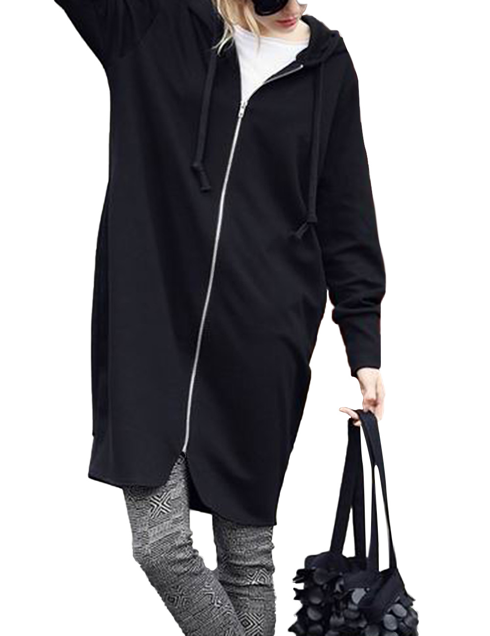 Women's Zip-Front Long Hoodie Jacket with Pockets and Zipper