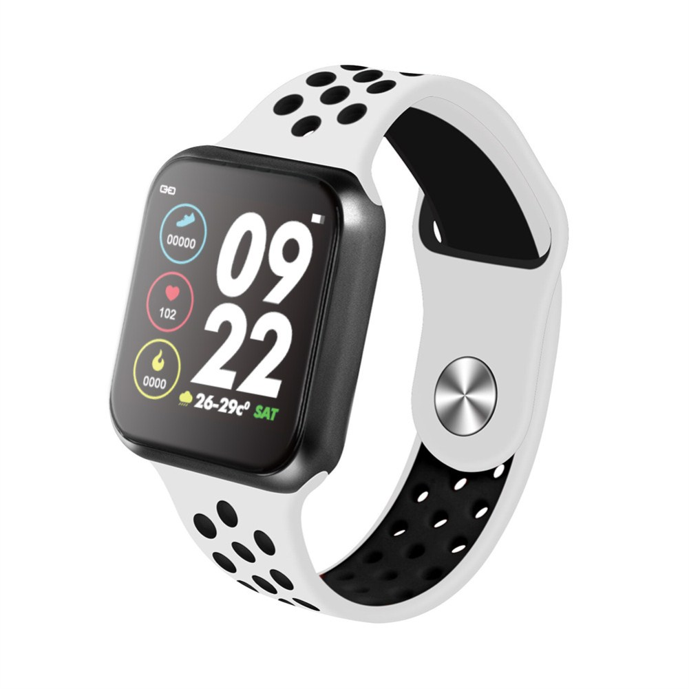 F9 Smart Bracelet Full Color Screen Touch Smartwatch Multiple Motion Patterns Heart Rate Blood Pressure Sleep Monitor  Black shell black and white belt