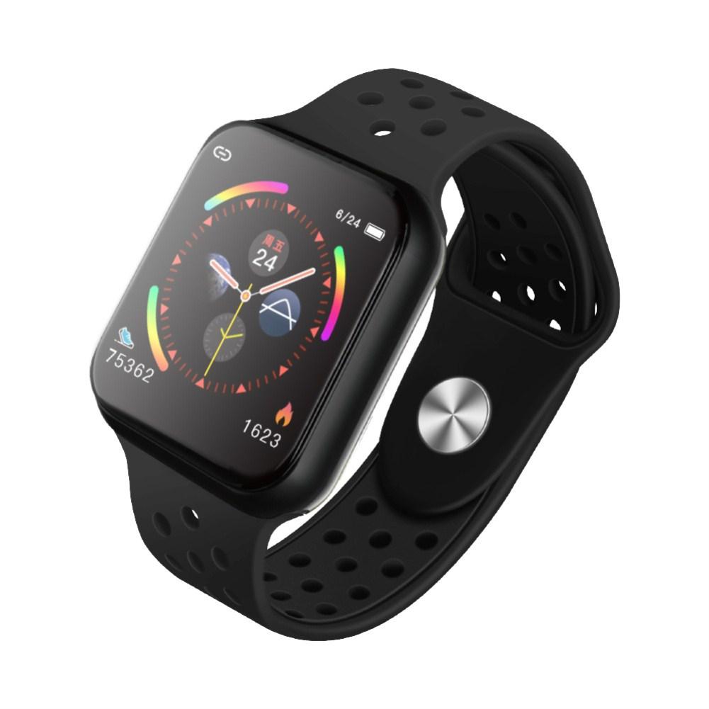 F9 Smart Bracelet Full Color Screen Touch Smartwatch Multiple Motion Patterns Heart Rate Blood Pressure Sleep Monitor  Black shell black belt