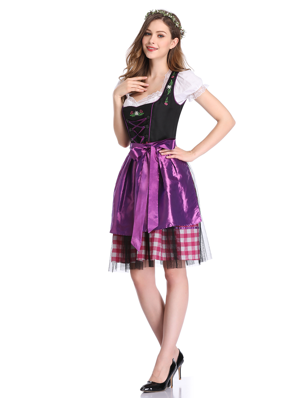 Oktoberfest Plaid Mesh Formal Dress Purple_40