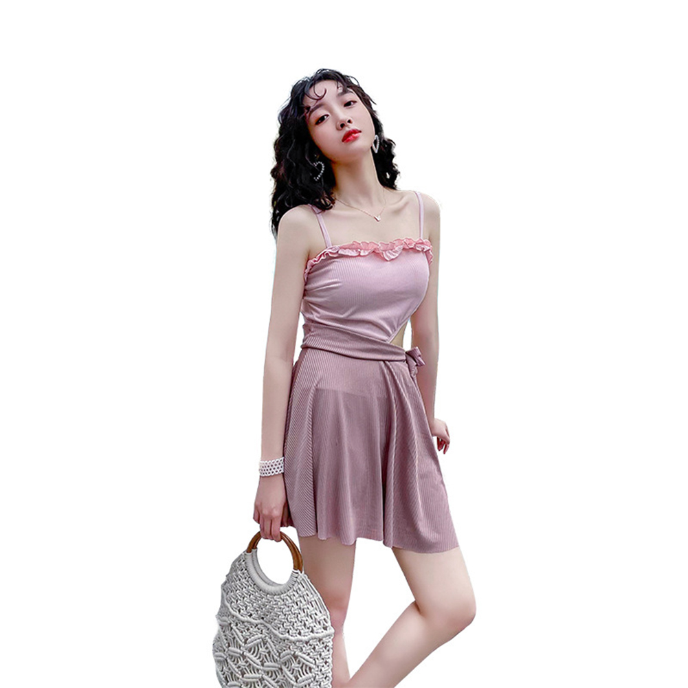 Women  Swimsuit Flounces Top Edge Conservatively Slimming Sling Swimwear Pink_M
