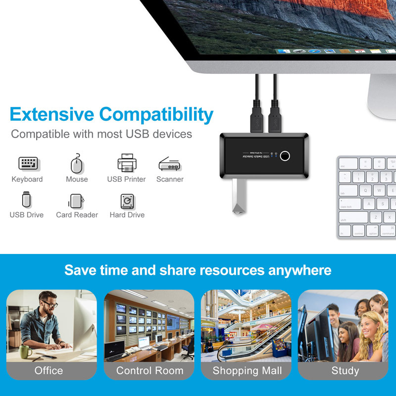 USB Multi-interface Splitter 2-4 Printer Sharing Switch Two Computers Share Hub black