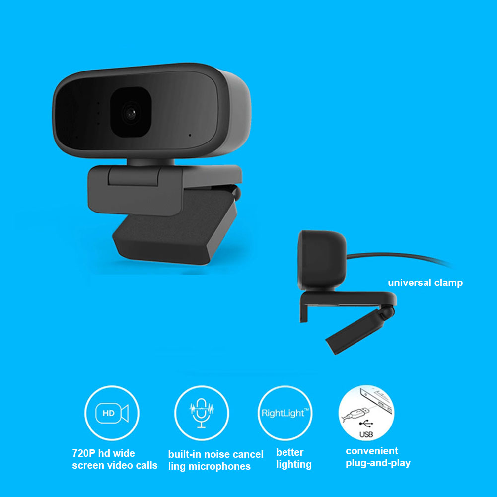 720P Webcam HD Online Course Camera Live Broadcast Built-in Sound Absorption Noise Reduction Microphone black