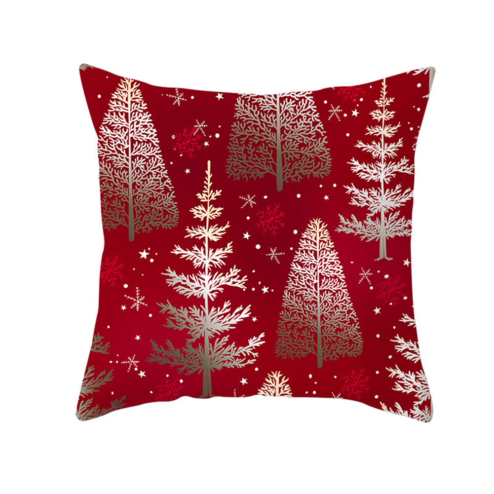 Christmas Cushion Cover 45*45 Red Merry Christmas Printed Polyester Decorative Pillows Sofa Decoration 36