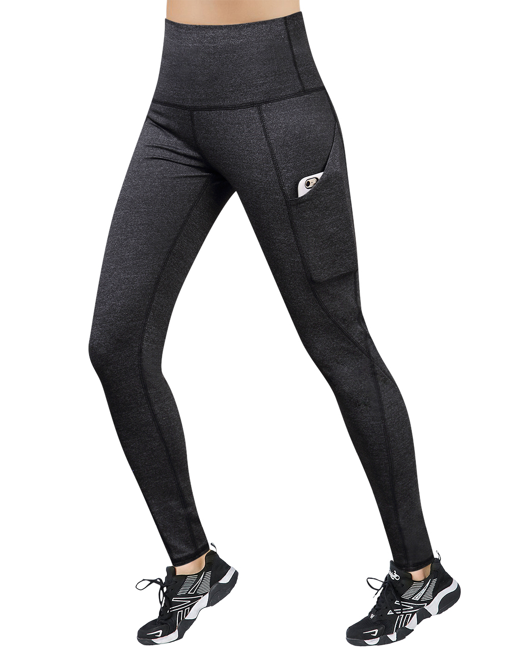 [US Direct] Yesfashion Women's High Waist Yoga Pants Tummy Control Workout Running Four-Way Stretch Yoga Leggings with Pockets