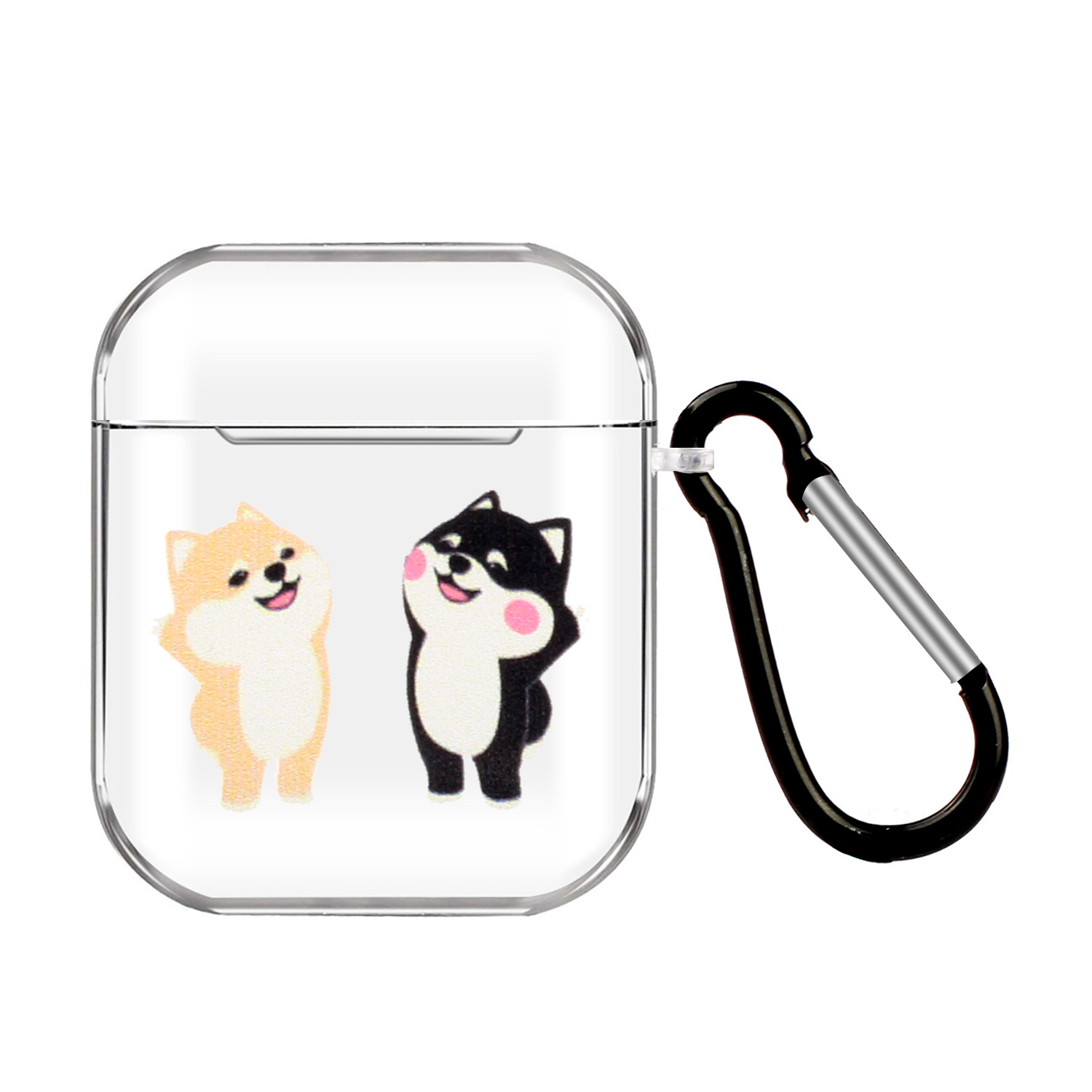 For AirPods 1/2 Headphones Case Full Protection Clear Cute Earphone Shell with Metal Hook 15 cats