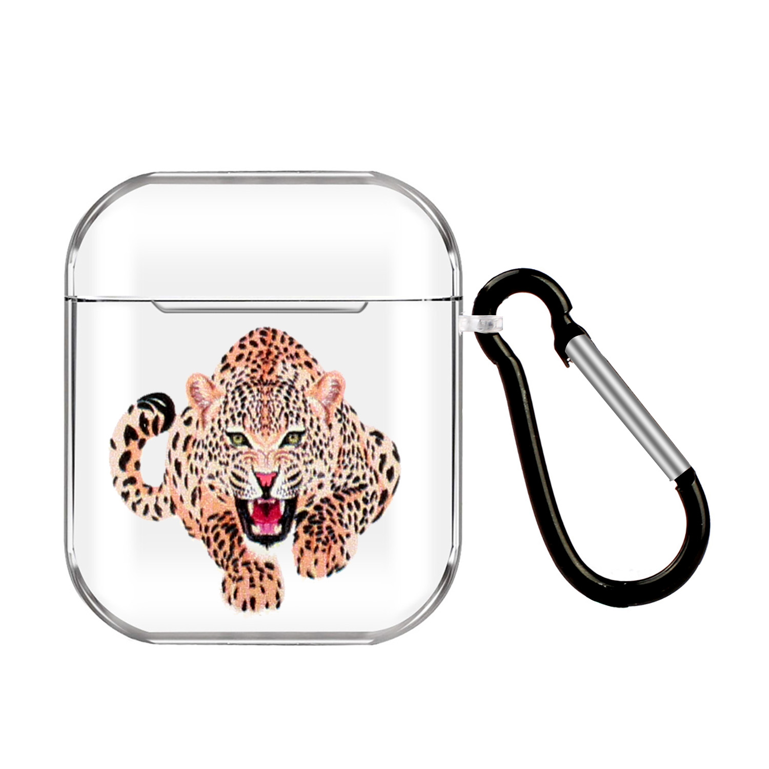 For AirPods 1/2 Headphones Case Transparent Earphone Shell with Metal Hook Overall Protection Cover 16 tigers
