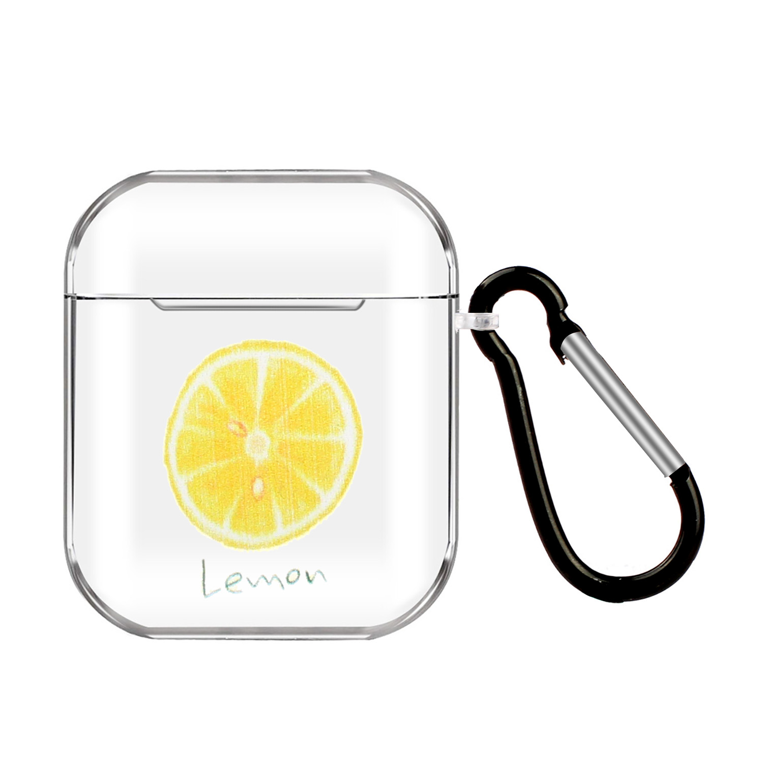For AirPods 1/2 Headphones Case Full Protection Clear Cute Earphone Shell with Metal Hook 13 lemons
