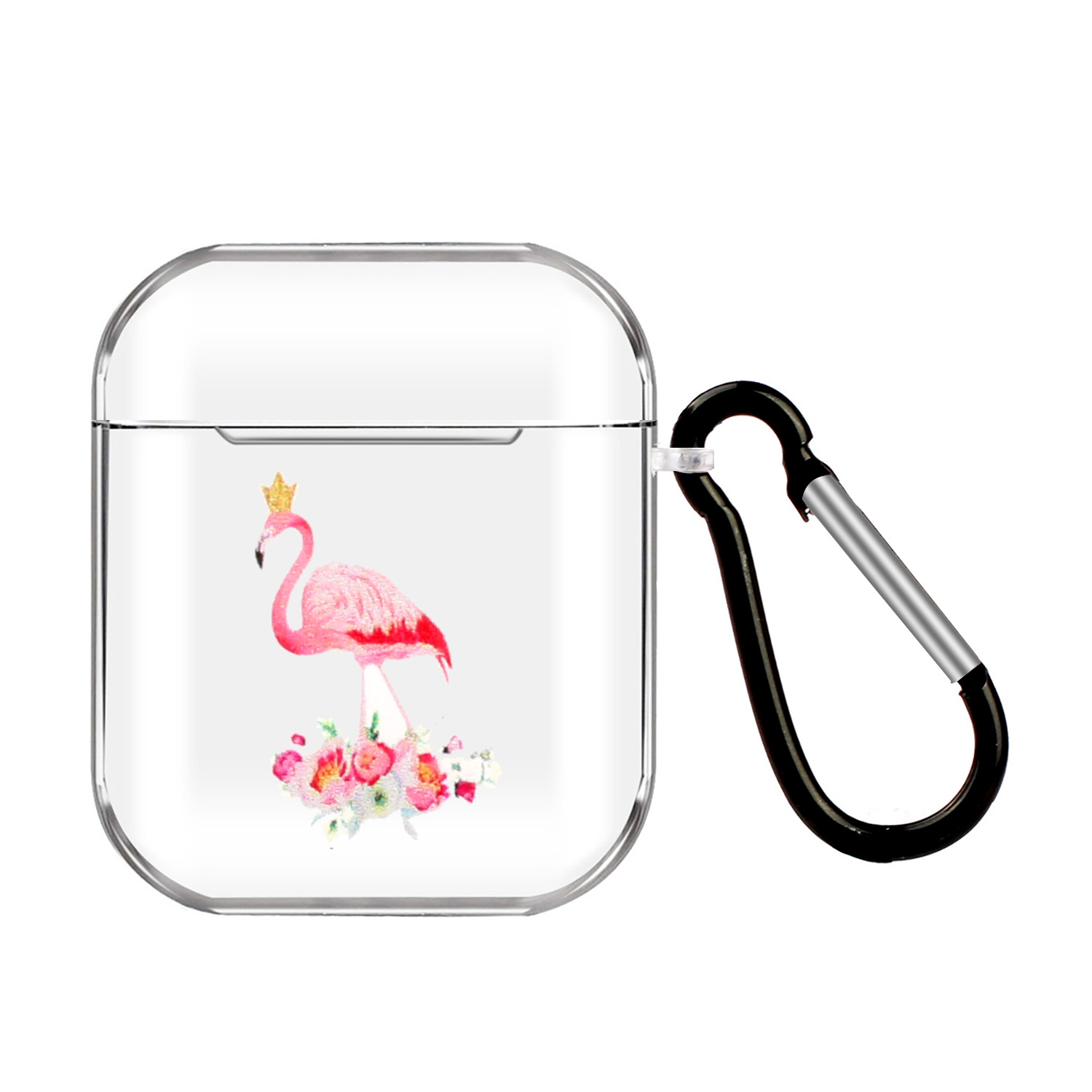 For AirPods 1/2 Headphones Case Full Protection Clear Cute Earphone Shell with Metal Hook 14 Flamingo