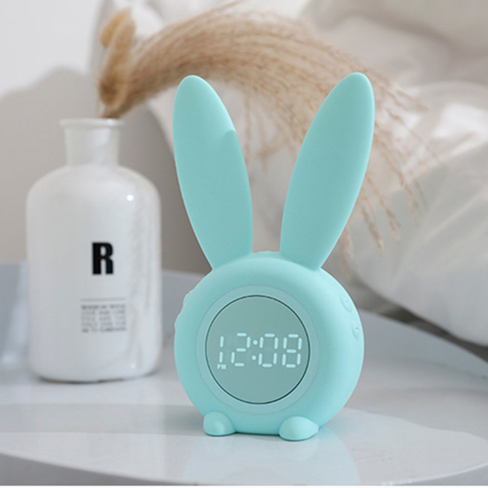 LED Alarm Clock Cartoon Mute Digital Snooze Wake Up Light Mute Electronic Large Time Display Decor green