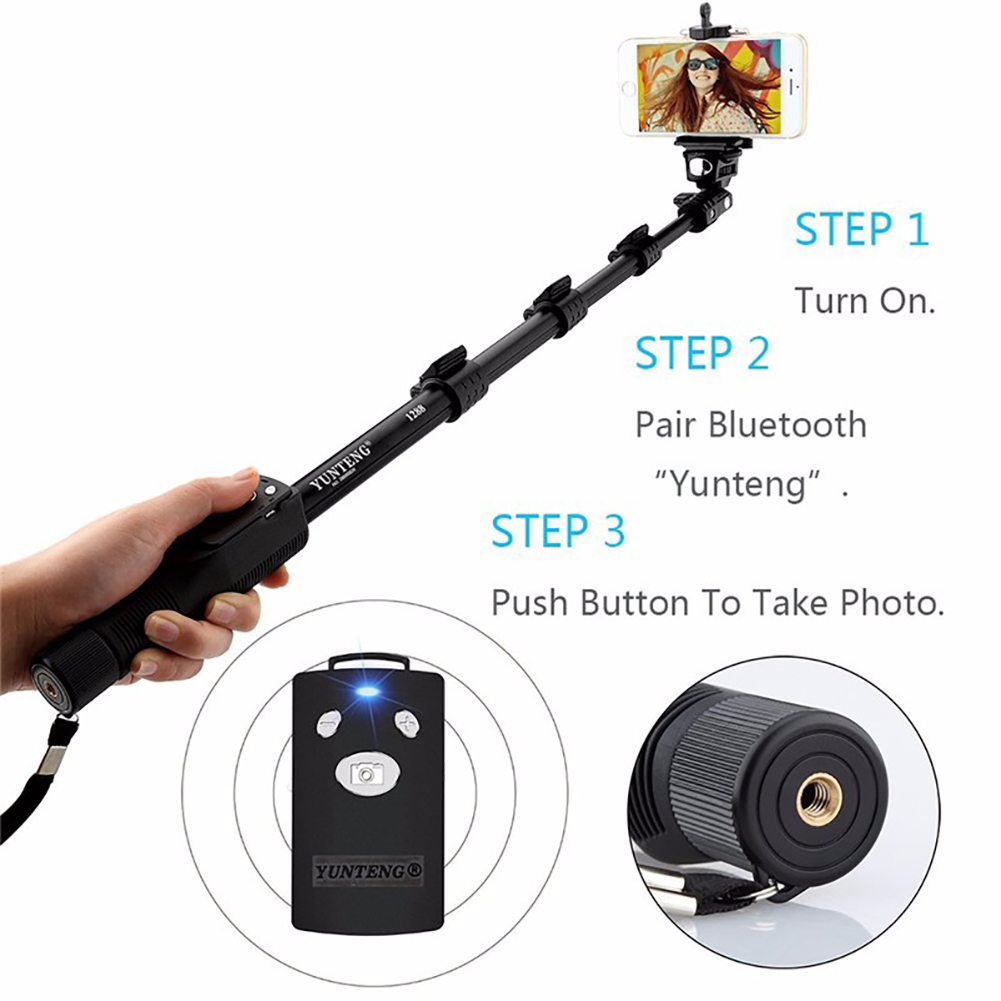 Selfie Sticks Handheld Monopod Phone Holder Bluetooth Shutter for GoPro Camera 1288