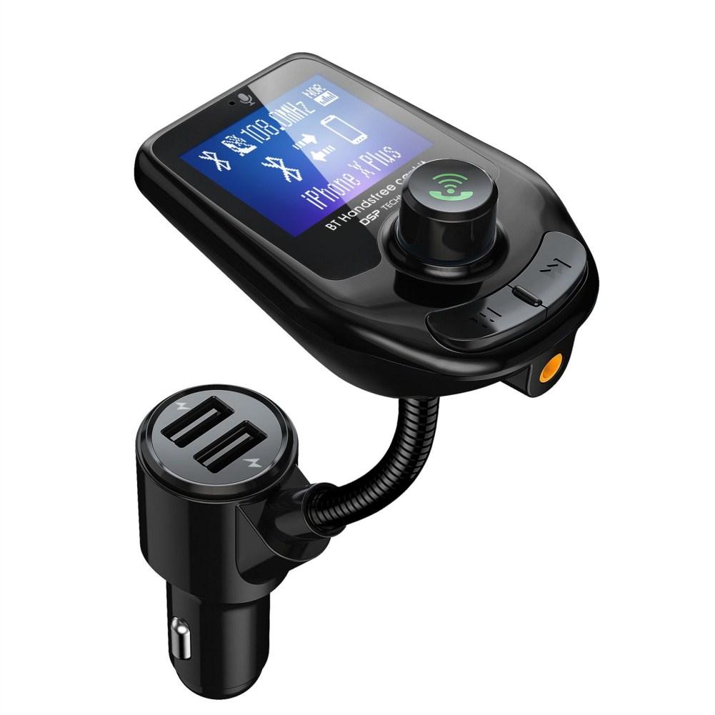 Big Screen Car MP3 Bluetooth 5.0 Player Dual USB Charging black
