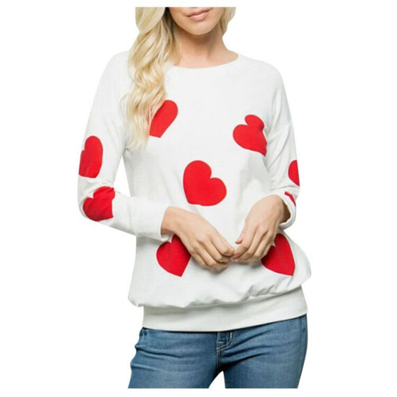 Women's Sweatshirt Long-sleeve Love Printed Casual Round Neck Top white_L