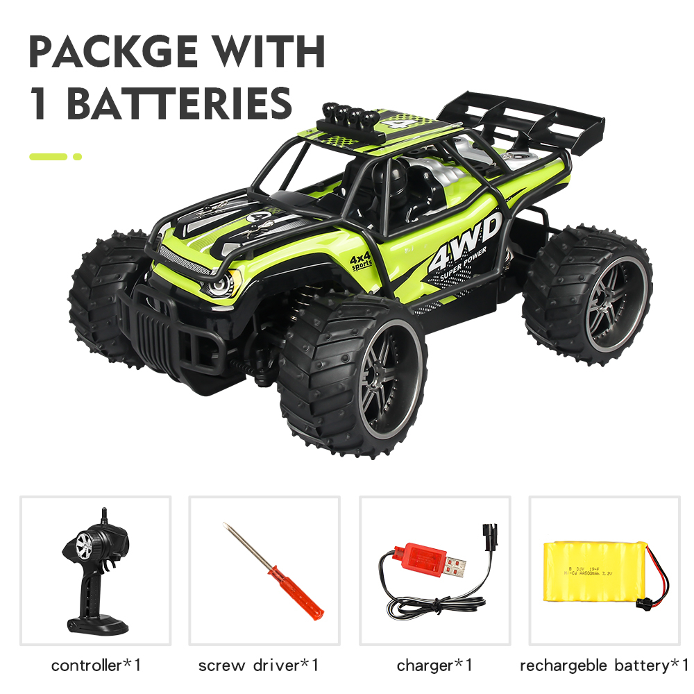 High-speed Car Remote Control Cross-country Climbing Car 2.4G Four-wheel Drive Racing Car Charging S009 Children Toys Green single battery package_1:16