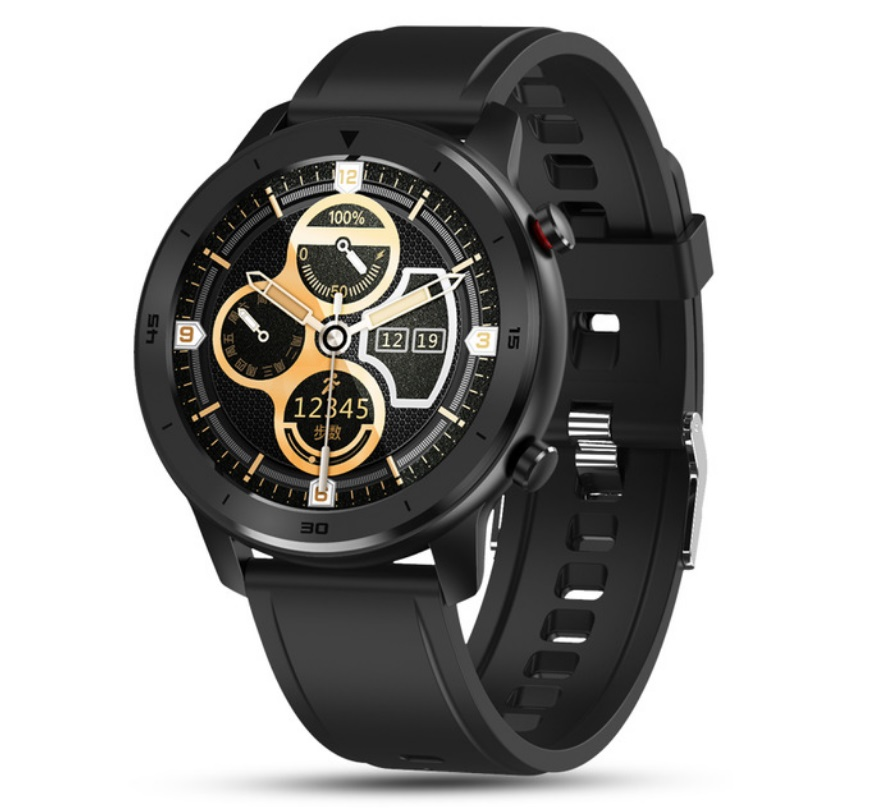 DT78 Smart Watch Sports Smartwatch Fitness Bracelet B1.3inch Full Touch Screen 230mAh Battery IP68 Waterproof Health Monitor Black silicone band