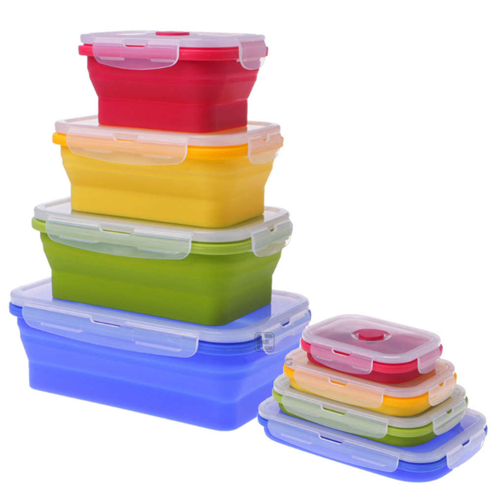 4Pcs/Set Folding Silicone Lunch Preservation Box for Oudoor Traveling Four-piece set