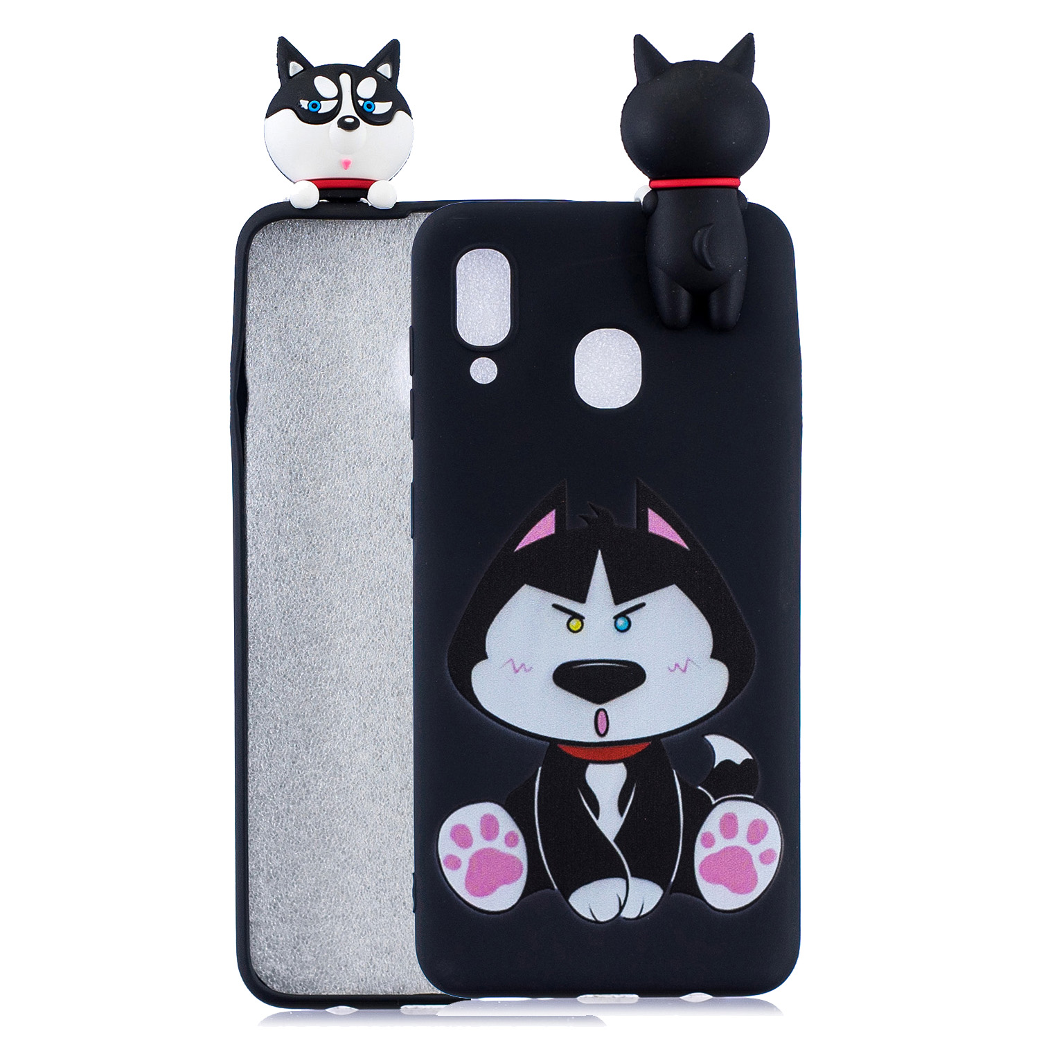For Samsung A10S A20S Color Painting Pattern Drop Protection Soft TPU Mobile Phone Case+Back Cover Bracket Staying husky