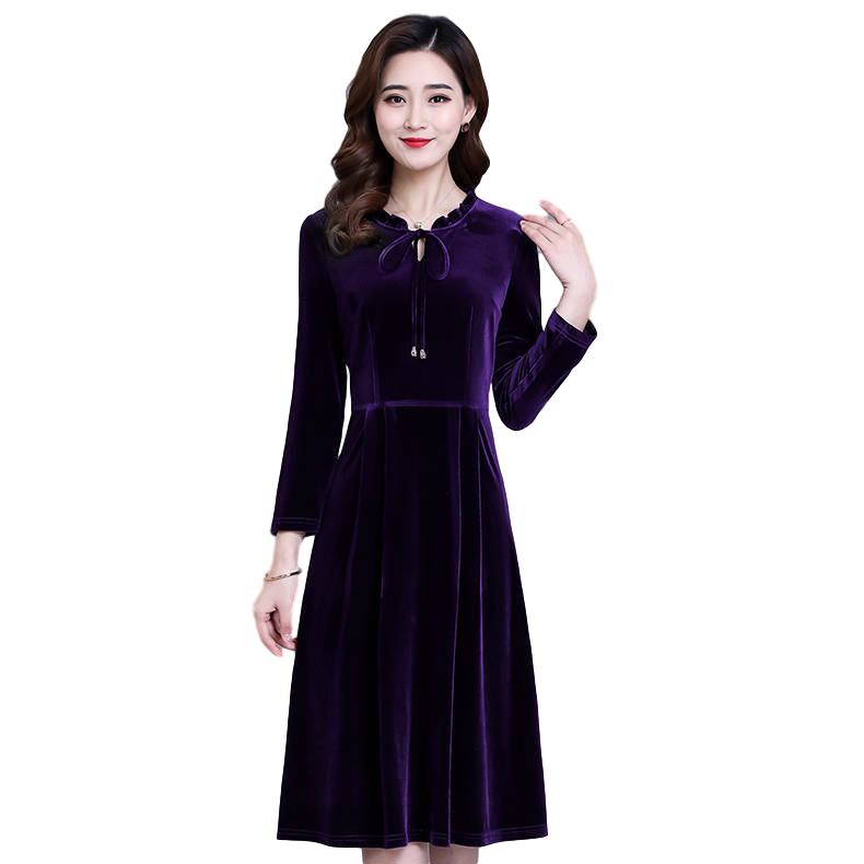 Women's Leisure Dress Autumn and Winter Solid Color Mid-length Long-sleeve Dress purple_L