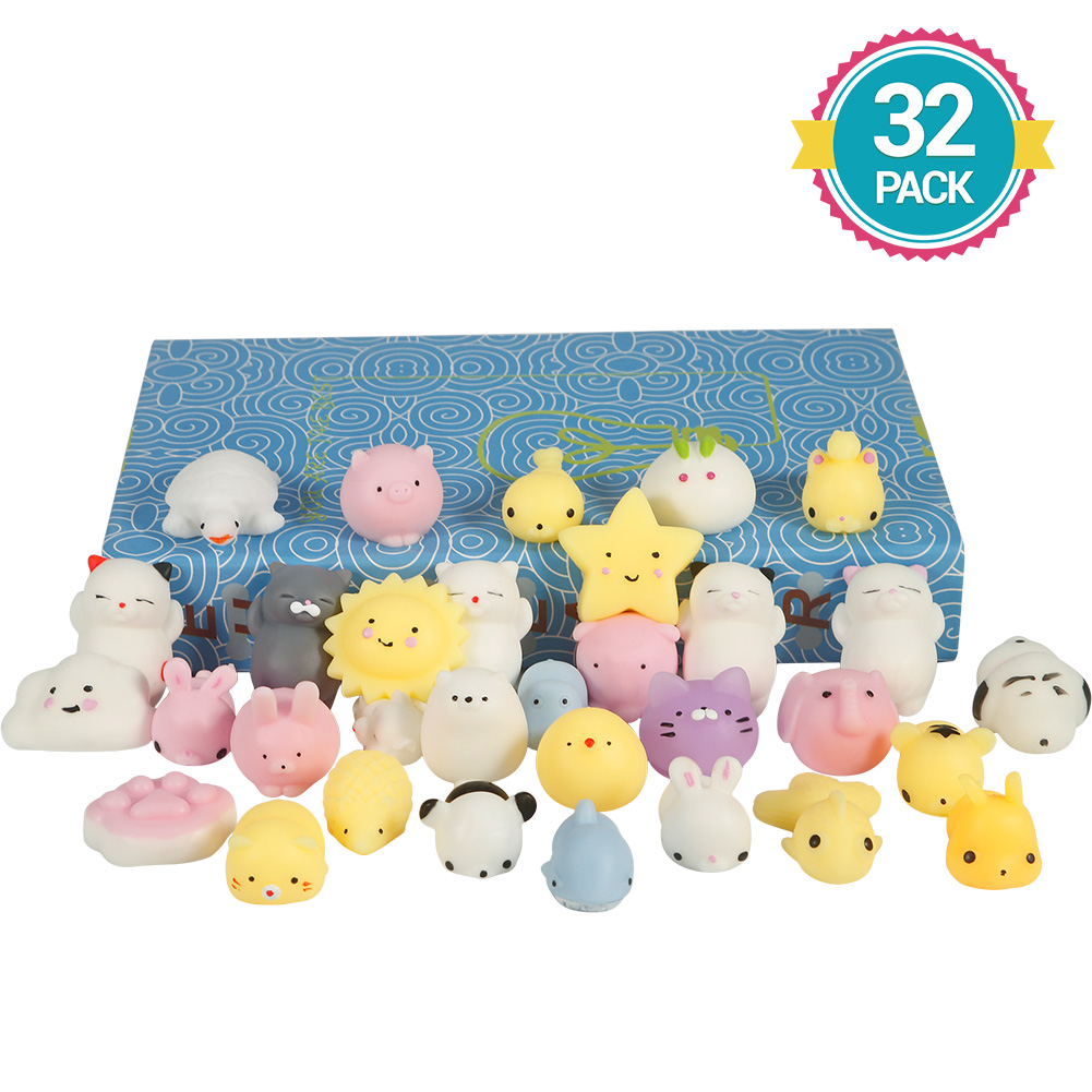 32Pcs/Set Mini Mochi Squishy Animals Panda Cat Stress Reliever Anxiety Toy for Children Adults